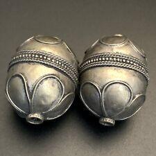 2 bedouin silver bead yemen handcrafted middle eastern bohemian vintage ethnic