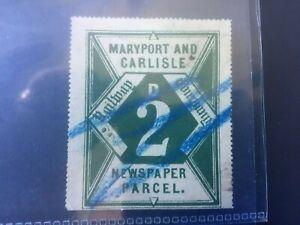 MARYPORT & CARLISLE RAILWAY: 2d USED NEWSPAPER PARCEL STAMP - NICE ITEM!