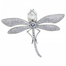 LOVELY 18K WHITE GOLD PLATED PEARL & CUBIC ZIRCONIA DRAGONFLY STATEMENT BROOCH