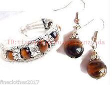 Beautiful Jewelry Tibet Silver Tiger Eye Bracelet woman Earrings