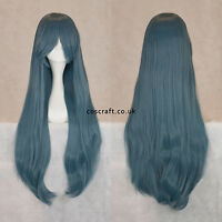 80cm long straight cosplay wig with fringe in blue-grey, UK SELLER Alex style