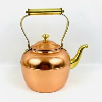 ODI Copper Teapot Vintage Lidded Kettle Gold Spout Handle Knob Korea 10 Inch