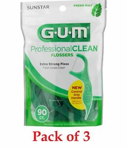 GUM Professional Clean Flossers Fresh Mint Extra Strong 90 Count Pack Of 3