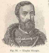 B1871 Klapka Gyorgy - Incisione antica del 1928 - Engraving