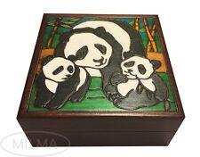 Panda Wooden Box Polish Handmade Panda Family Keepsake Kids/Adult Jewelry Box