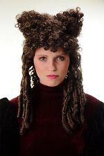 Perücke Halloween Karneval Gothic Barock Gräfin Hexe Beehive braun Locken Hörner