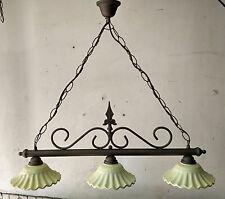 Lampadario bilanciere stile rustico moderno in ferro battuto e terracotta