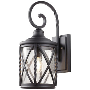 Outdoor Wall Lantern Sconce 18.75 in. Seeded Glass Incandescent Hardwired Black