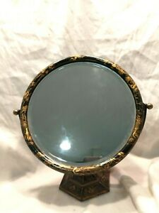Antique chinese gilt-decorated chinoiserie dressing/makeup mirror