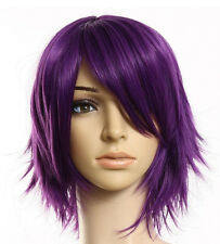 Natural Mens Women Purple Straight Short Hair Wigs Short Women's Fashion Wig