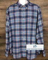 Southern Tide Men's Classic Fit Blue Plaid Long Sleeve Button Down Shirt 2XL XXL
