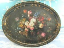 Country White Pink Cabbage Roses Vintage Oval Metal Tole Tin Dresser Vanity Tray
