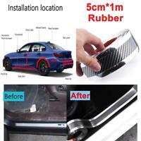 Silver Rubber Car Door Sill Protector Carbon Fiber Bumper Guard Strip Trim 1M