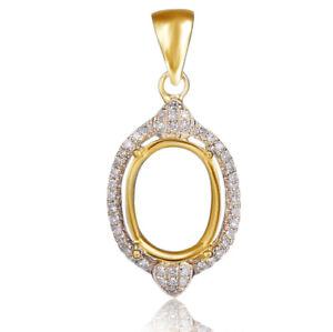 OVAL CUT DIAMOND SETTING SEMI PENDANT MOUNT Solid 14K Yellow Gold -IGI-