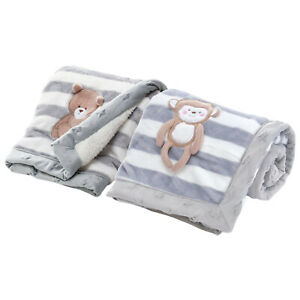 Unisex Baby Plush Blanket with Sherpa Back, 75X100cm/29.52x39.37inch, Grey Color