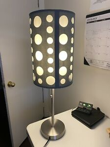 """33"""" Tall Metal Table Lamp, Retro design with Grey and White [9300TGY-WH] Works!!"""