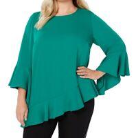 Alfani Womens Blouse Green 2X Plus Aysmmetrical Ruffle Flounce Sleeve $85 157