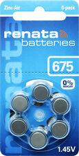 30x Renata Gr. 675 Hörgerätebatterien 5x 6er Blister PR44 Blau 100793