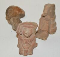 Pre-Columbian? Mesoamerican? Terracotta Pottery Shard Decorative Bits lot of 3