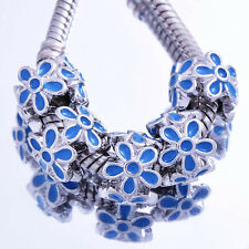5PCS Silver Filled Blue Enamel Flower Charm Bead European Charm Bracelet