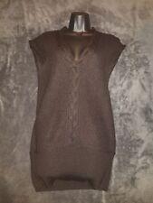 KENAR Women's Dress Wool Sweater Cable Knit Mini Black Size S