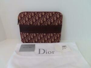 NWOT Christian Dior Bordeaux Oblique Jacquard/Leather Pouch Clutch Bag