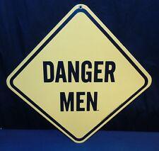 """NOS """"Danger Men"""" Man Cave 11.5"""" X 11.5"""" Porcelain Enamel Sign Ande Rooney 1997"""