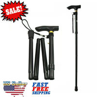New Walking Cane Aluminum Adjustable Folding Hiking Travel Metal Stick