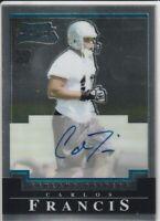 Carlos Francis Raiders 2004 Bowman Chrome Rookie Autograph Card