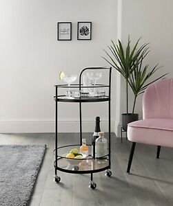 Black Round Portable Metal Glass  Drinks Trolley Side End Table
