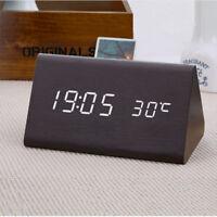 LED Digital Wecker Tischuhr Uhr Beleuchtet Funk Thermometer Holz Alarm Snooze