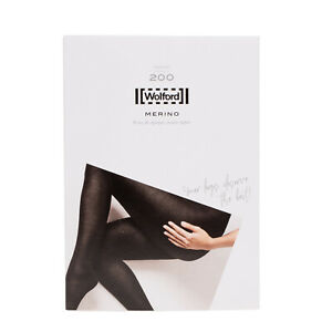RRP €50 WOLFORD Merino 200 DEN Tights Size M Wool Blend High Moisture Absorption