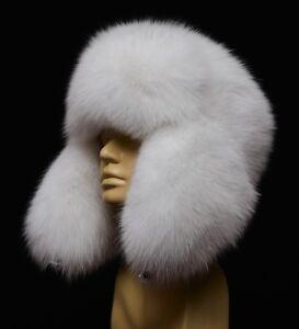 Saga Furs Pure White Arctic Real Fox Handmade Classic Ushanka Trapper Winter Hat
