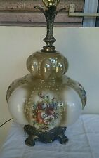 Vtg Mid Century Bubble Glass 3 Way Regency Style Table Lamp FLORAL Pattern