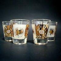 Set of 4 Mid Century Gold Frosted Shot Glasses Star Medallion Vintage MCM