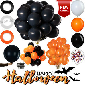 100 latex balloons orange and black for Halloween Decoration Balloons Quality UK