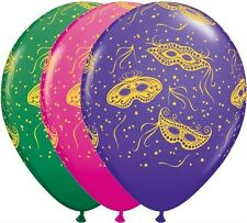 """25 x Assorted Masquerade Design New Year Party Decoration 11"""" Latex Balloons"""