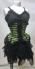 Gothic Punk Short Dress With Leatherette Trim & Green Stripes Sm