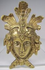 Antique 19c Brass Face Decorative Art Architectural Furniture Hardware Element