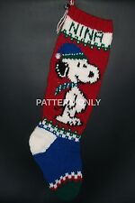 Pattern Only Hand Knitted Beagle and Tree Christmas Stocking
