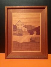Folk Art Wood Inlay Picture Handmade Arts N Crafts