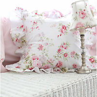 White Cushion Cover - Shabby Chic Floral Ruffled Square Cotton Throw Pillow Case