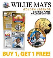 WILLIE MAYS Golden Legends 24K Gold Plated California State Quarter Coin - BOGO