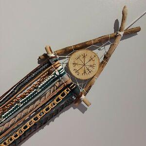 Handmade Driftwood Long Macramè Viking and Norse Inspired Vegvisir Wall Hanging