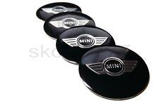 4x 50mm MINI AUTO RUOTA center caps badge curva di metallo con logo adesivo Ali