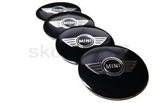 4x 50mm MINI Car Wheel Center Caps Metal Curve Badge Sticker Logo Wings