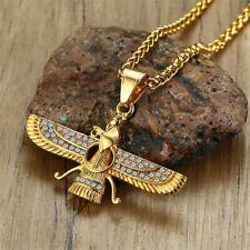 Gold Farvahar Necklace, Ahura Mazda, Zoroastrian Faravahar Wing, 24k Gold plated
