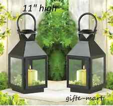 "2 black 11"" Candle Lantern holder lamp modern malta outdoor terrace patio light"