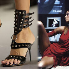 Dolce & Gabbana Fettish GLADIATOR Stiletto STUDDED Spikes Sandal Heels Size 38.5