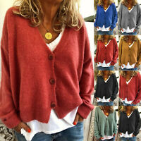 UK Womens Knitted Tops Sweater Cardigan Casual Buttons V Neck Loose Jumpers Coat